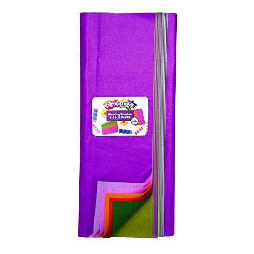 Colorations Bleeding Art Tissue, 50 Sheets, 20 inches x 30 inches, 20 Assorted Colors, Watercolor, Collage, Arts & Crafts, Mess-Free Paint Alternative, BBLTIS