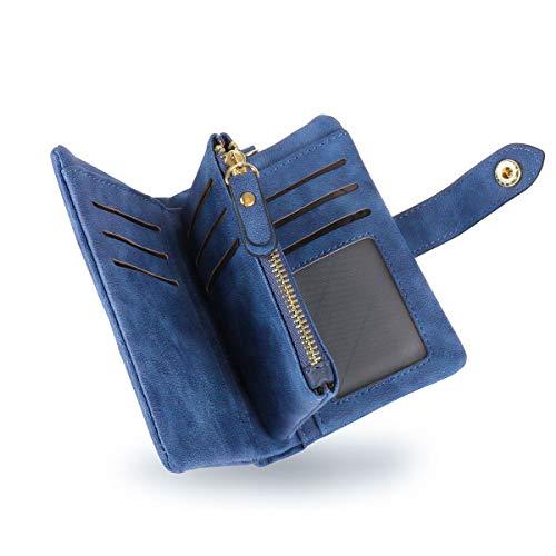 Conisy Geldbörse Damen Kurzer RFID Schutz Geldbeutel Leder Für Frauen - Weich Bequem Süß Portemonnaie mit Viel Kartenfächer (blau)
