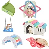 6 Pieces Dwarf Hamster Toys, Hamster Wooden House Hideout DIY Exercise Cage Accessories Toys Set, Triangle Platform, Rainbow Bridge and Swing Seesaw for Syrian Hamster Gerbil Mouse Sugar Glider