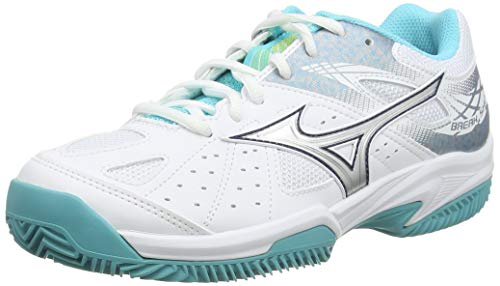 Mizuno Break Shot 2 CC Zapatillas de Tenis, Mujer, Blanco (White/Silver/Blue Curacao 03), 38 EU