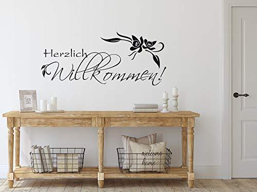 GRAZDesign Wandaufkleber Klebefolie Herzlich Willkommen - Wandsticker Wandspruch Orchidee Blume - Wandtattoo Flur Eingang klein/groß / 69x30cm / 720280_30_070