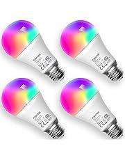 Meross Smart WiFi Dimbare Meerkleurige LED-lamp Afstandsbediening Equivalent 60W E27 2700K-6500K Compatibel met Alexa, Google Home en SmartThings 4 stuks