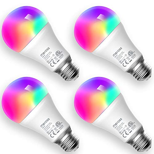 meross Lampadina Wifi Intelligente LED 9W 810LM Dimmerabile Multicolore E27 A19 Smart Light RGBCW Equivalente 60W 2700K-6500K Compatibile con SmartThings, Amazon Alexa, Google Home, IFTTT, 4 pezzi