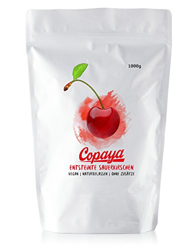 Copaya Sauerkirschen getrocknet, entsteint, ungesüßt & ungeschwefelt, ganze Kirschen ohne Stein 1000g