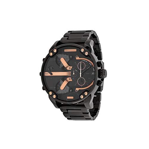 Hombres Casual Reloj analógico de Cuarzo con Acero Brazalete Calendario de la Manera Genuina de Gaza Reloj de Pulsera - Batería Incluida (Negro/Rosa de Oro)