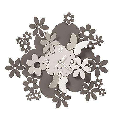 Arti & Mestieri Daisy - Orologio da Parete di Design 100% Made in Italy - in Ferro, Diametro 40 cm - Fango e Avorio