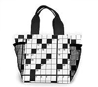 クロスワードパズル(空白) Crossword Puzzle (Blank) 大容量ハンドエコバッグ トートバッグ ランチバッグ買い物袋手提げ袋両側の独立した網袋 通勤 通学 旅行 (Portable Insulated Lunch Bag)
