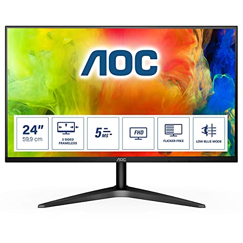 AOC 24B1H - 24 Inch FHD Monitor, 60Hz, MVA, 5ms Ultra Slim, Flickerfree,...