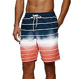Arcweg Badehose für Herren Lang Mehr Taschen Badeshorts Männer Wasserabweisend Boardshorts Schnelltrocknend Jungen Beachshorts Bermudas mit Tunnelzug Rote Streifen XL(EU)-MarkeGröße 2XL