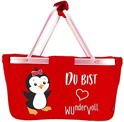 Mein Zwergenland Faltbarer Einkaufskorb Pinguin, 28 L, rot
