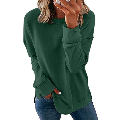 QSDM T-Shirt Girocollo a Maniche Lunghe da Donna Felpa da Donna Pullover Crew Maglione Girocollo a Maniche Lunghe con Stampa a Righe Tinta Unita Autunno e Inverno-Verde_S