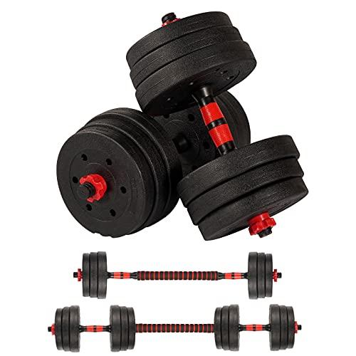 arteesol Kit Manubri Bodybuilding 10kg 20kg 30kg Set Manubri Palestra Pesi Regolabili Bilancere Pesi Palestra Blocco di Sicurezza + Tubo di Collegamento in Acciaio 390mm Pesi Bilanciere Manubri