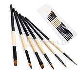 Boji Juego de 6 pinceles planos de nailon para colorear el pelo con pintura al óleo acrílica