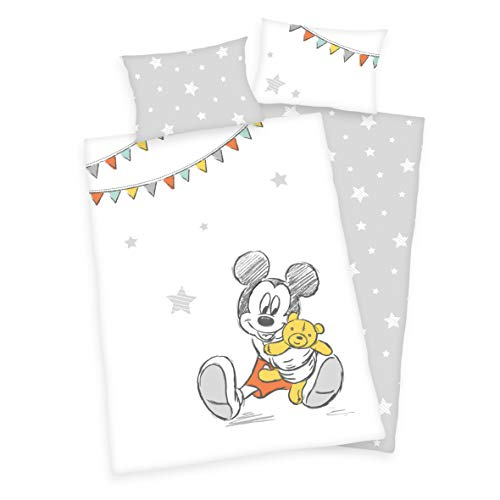 Juego de ropa de cama para bebé (3 piezas, reversible, 100 x 135 cm + 40 x 60 cm + 1 sábana bajera de 70 x 140 cm), diseño de Mickey Mouse