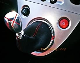 The Tuning-Shop Ltd For Honda Civic 01-05 Ep3 Shift Stick Gaiter Black Alcantara Suede With Red Stitching