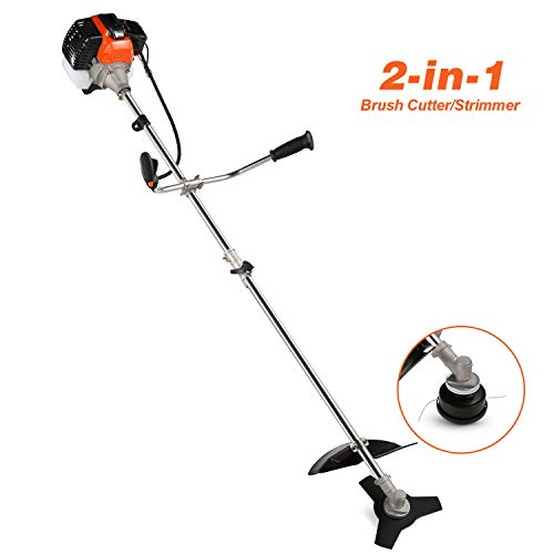 cacat 2-Cycle Dual Line Gas Shaft String Trimmer and Brush Cutter, Handheld Weed String Mower Cutter Grass Lawn Trimmer & Edger with Detachable Head