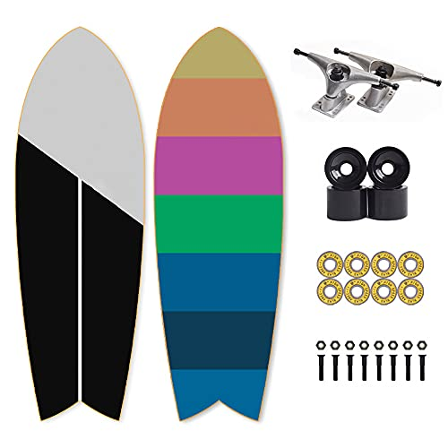 Skateboard Carving Surfskate Cruiser Boards Pumpping Surf Skate para Principiante Profesionale Niños Adolescente Adulto,75×24cm, Monopatín Cóncavo de Arce Doble de 7 Capa, Patinetas Rodamiento ABEC-11