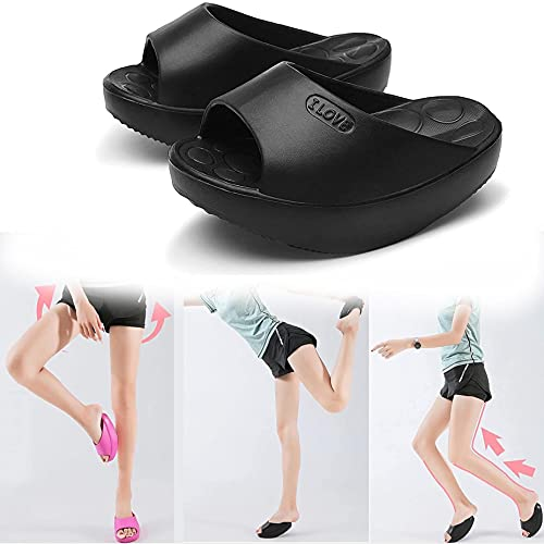 ZDDO Legs Slippers Half-Palm Stretch Massage Shaking Shoes,Reflexology Shoes For Women, Correcting O-Legs and Valgus Thumbs 35-37 Black