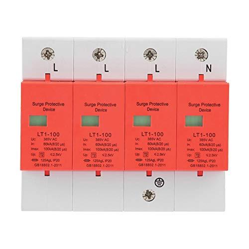 Dispositivo de protección contra sobretensiones domésticas, 4P 60-100KA 420vAC Dispositivo de protección contra sobretensiones de baja tensión para viviendas