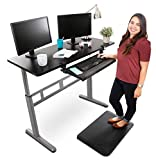 Stand Steady Tranzendesk 55 Inch Standing Desk with Large Clamp On Keyboard Tray - Easy Crank Stand Desk and Attachable Under Desk Tray