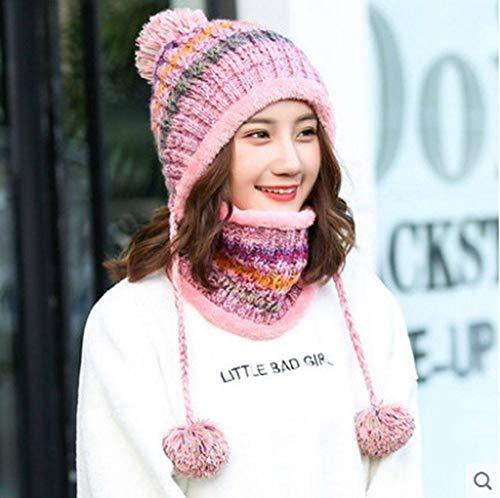MYYLFF Bonnet Tricoté,en Hiver Hat Et Circle Foulard pour Les Femmes,Les Femmes Rose Hat Foulard Pom Pom Beanie Hat Options De Couleurs