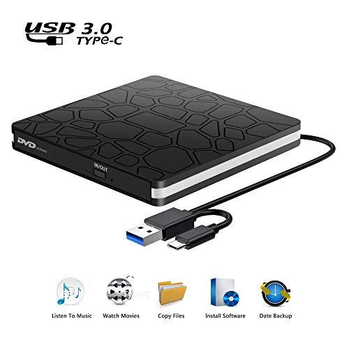 Externes CD DVD Laufwerk, USB 3.0 Typ C Anschluss RW/VCD-RW Brenner und Lesegerät Geräuscharme Datenübertragung Super Laufwerk Player für MacBook, Laptop, 7/8/10/XP/Vista/Linux/Mac OS