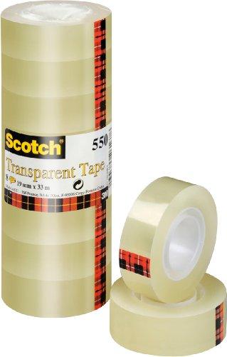 Scotch Transparentes Klebeband 550- 8 Rollen - 19mm x 33m - Durchsichtiges Allzweckband für Schule, Heim und Büro