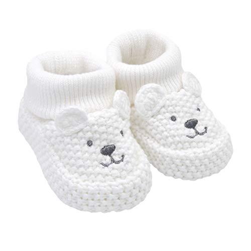 Carter's Baby-Boy's Neutral Soft Sole Bear Knit Bootie Slipper, White, Newborn Regular US Infant