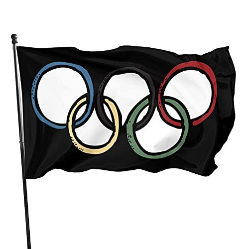 Anillos olímpicos de colores 3x5 pies bandera decorativa al aire libre para patio jardín para 2021 Juegos Olímpicos