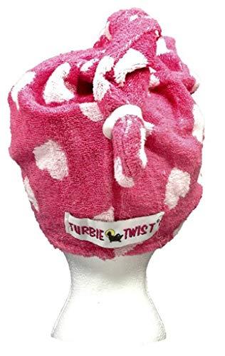 Turbie twist Cotton Hair Towel (Pink Heart Dark)