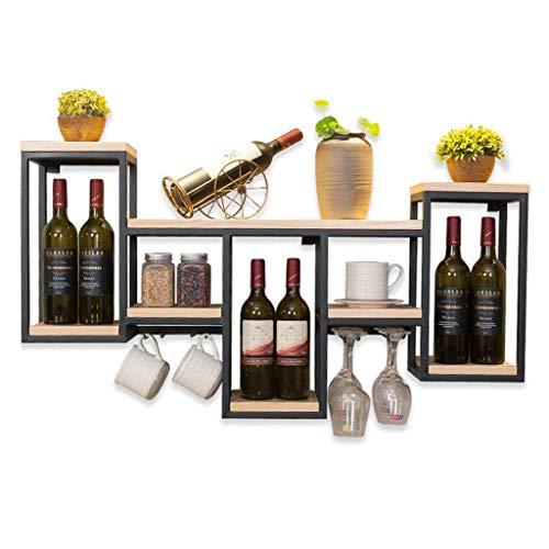 YO-TOKU - Botellero de hierro forjado nórdico para colgar en la pared, estante de madera maciza, estante para copas de vino, creativo colgador para botellas de vino o decoración del hogar