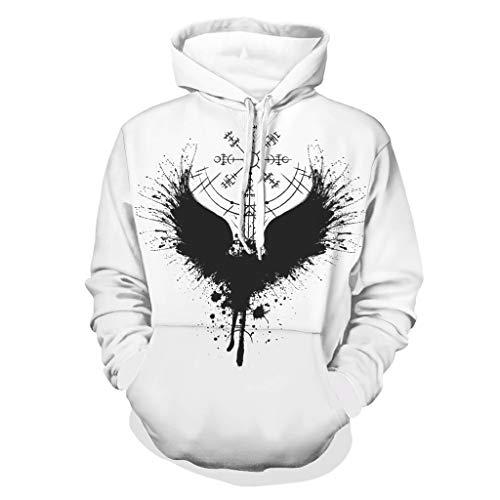 Shinelly Sudadera con capucha estilo vikingo Odin Raven con estampado Vegvisir para hombre, estilo sarcstico, manga larga, con bolsillos blanco M