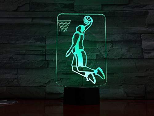 Illusion 3D de basket-ball d'action du joueur Figure Led Night Light USB Enfants Enfants Cadeau Bébé Veilleuse Sport Bureau Lampe de chevet Décoration lumière de nuit