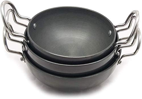 Whopper Indian Kadai, Aluminium niet-Stick Tadka Frying Pan Set voedsel serveren Kadhai Set van 3 Zwart 250,300,400 ML