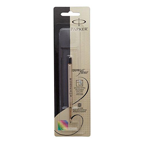 PARKER QUINKflow Ballpoint Pen Ink Refill, Medium Tip, Black, 1 Count