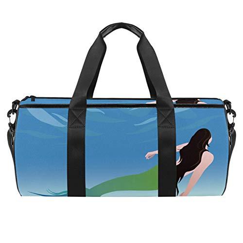 Bolsa de viaje para playa grande para gimnasio, gimnasio, bolsa de hombro con estampado de sirena, con bolsillo seco y húmedo