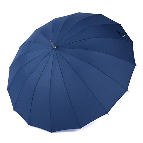 Rainbrace Ombrello da Pioggia Antivento 152.4 cm Grande, Automatico, Manico Lungo Dritto, Ombrello da Viaggio e da Golf con 16 Stecche in Vetroresina (Blu)