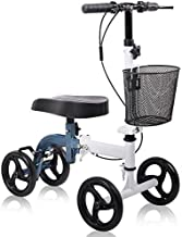 Knee Scooter All Terrain - Give Me Deluxe Medical Steerable Foldable Knee Walker for Broken Leg, Foot, Ankle Injuries Come with Orthopedic Seat Pad - Compact Crutches Alternative in White + Blue