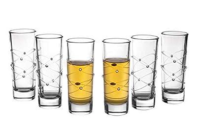 Trinkware Calici Cordial Glasses - Set of 6 Shot Glasses - Swirl Cut And Diamond Design