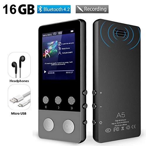 MP3 Player, 16GB Bluetooth 4.2 MP3 Player Kinder mit Lautsprecher, Sport Musik Player mit FM Radio Schrittzähler Voice Recorder Schlaftimer Wecker, Unterstützt bis 128 GB SD Karte (Schwarz)