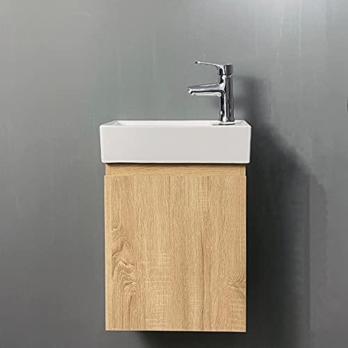 YIZHE Mueble de baño suspendido con Lavabo de cerámica y Espejo, Juego de Muebles de baño y Lavabo,Conjunto de Mueble de Baño suspendido a la Pared con Fondo Super reducido,(excluyendo el Grifo)