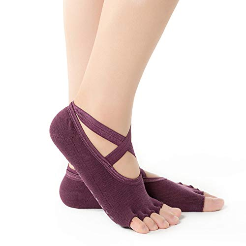 Female Invisible Socks Half/Full Finger Yoga Socks with Anti-Slip Dots Breathable Cotton Sock with Cross Belt for Dancer