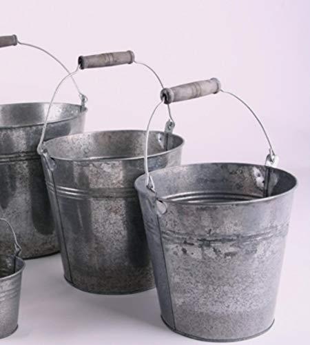 Shophaus24 3 er Set Deko Eimer Metall Blech verzinkt mit Bügel und Holzgriff. D Oben 11 cm, H Ohne Henkel 10 cm. 3 Stück