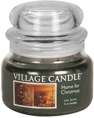 Village Candle Vela Pequeña con Aroma Hogar para la Navidad, Cristal, Turquesa, 9.7x9.5x5.5 cm