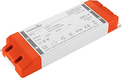 Poppstar Transformador LED 230V AC / 24 V DC 2,5A para bombillas LED de 0,6 hasta 60W