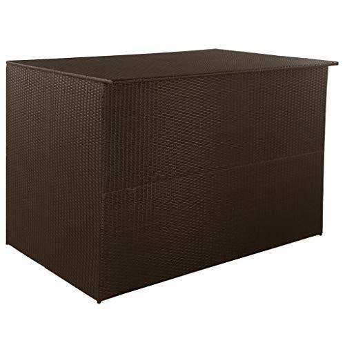 Festnight Garten Aufbewahrungsbox Aufbewahrungstruhe Polyrattan Gartenbox Outdoor Aufbewahrung Stahlrahmen 150 x 100 x 100 cm Braun