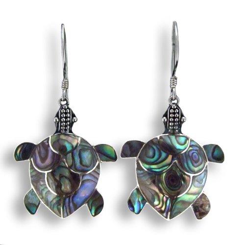 ISLAND PIERCINGS Edle 925er Silber Perlmutt Ohrringe Schildkröten Design Handarbeit SER006a