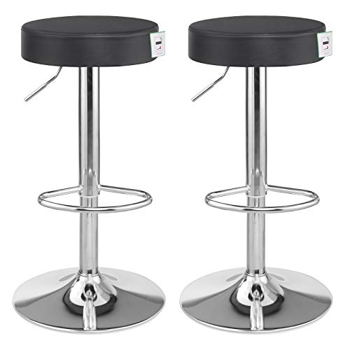 SONGMICS Bar Stool Set of 2, Height Adjustable Bar Chairs in Synthetic Leather, 360° Swivel Kitchen Stool with Footrest, Chrome-Plated Steel, Black LJB01BUK