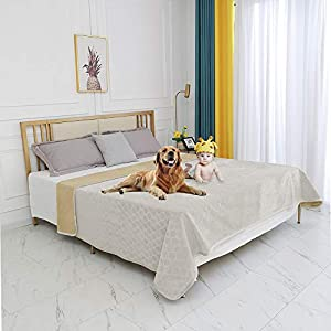fuguitex Waterproof Dog Blanket Bed Cover Dog Crystal Velvet Fuzzy Cozy Plush Pet Blanket Throw Blanket for Couch Sofa(80102″,Cream+Sand