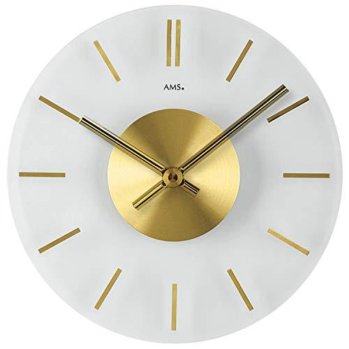 AMS - Quarzuhr - Wanduhr - Mineralglas (Klarglas) - aufgelegte Stundenmarkierungen in Messing